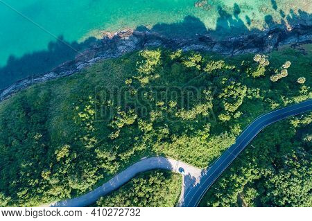 Aerial View Top View Seashore With Asphalt Road Curve In Tropical Island Amazing Nature View Beautif