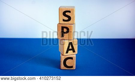 Spac, Special Purpose Acquisition Company Symbol. Wooden Cubes With Word 'spac' On Beautiful White A