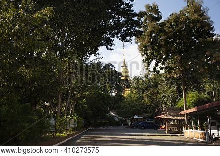 Landscape And Chedi Pagoda Stupa Of Wat Phra That Doi Saket Temple For Thai People And Foreign Trave