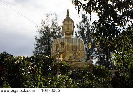 Big Golden Buddha Image Statue Of Wat Phra That Doi Saket Or Phrathat Doi Saket Temple For Thai Peop