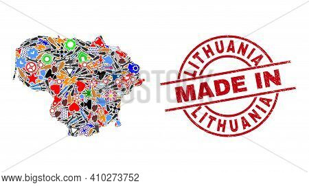 Technical Mosaic Lithuania Map And Made In Distress Stamp. Lithuania Map Mosaic Composed With Wrench