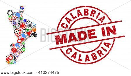 Service Mosaic Calabria Region Map And Made In Grunge Rubber Stamp. Calabria Region Map Mosaic Creat