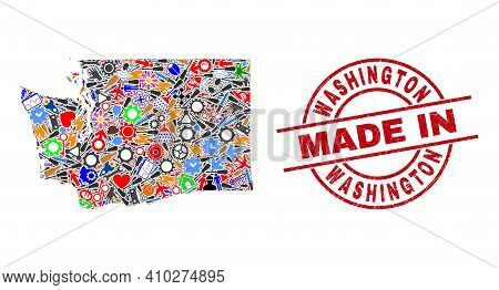 Development Mosaic Washington State Map And Made In Distress Stamp. Washington State Map Abstraction