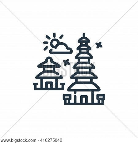 pura icon isolated on white background from world monument collection. pura icon thin line outline l