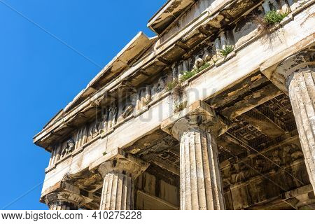 Temple Of Hephaestus In Agora, Athens, Greece. It Is Landmark Of Athens. Detail Of Old Architecture,