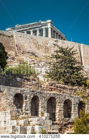 Acropolis Of Athens, Greece. Vertical View Of Herodes Odeon And Parthenon Temple. This Place Is Top