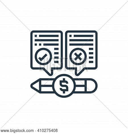 pros and cons icon isolated on white background from payment element collection. pros and cons icon