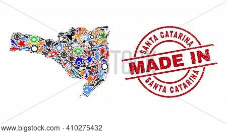 Technical Santa Catarina State Map Mosaic And Made In Scratched Watermark. Santa Catarina State Map