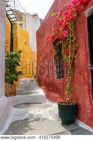 Street In Plaka District, Athens, Greece. Plaka Is Tourist Attraction Of Athens. Vertical View Of St