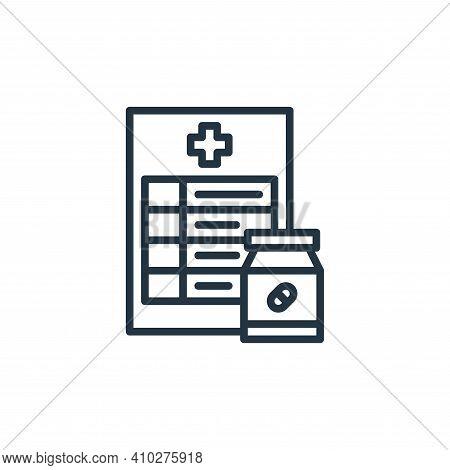 prescription icon isolated on white background from coronavirus collection. prescription icon thin l