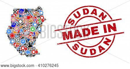 Production Sudan Map Mosaic And Made In Grunge Stamp Seal. Sudan Map Abstraction Composed With Wrenc