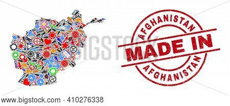 Service Mosaic Afghanistan Map And Made In Scratched Seal. Afghanistan Map Collage Designed From Spa