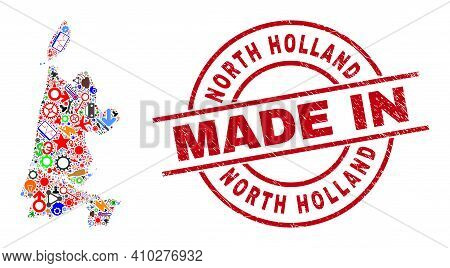 Development Mosaic North Holland Map And Made In Grunge Rubber Stamp. North Holland Map Composition