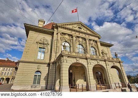 Bern, Switzerland - Aug 23, 2020: Entrance Of Grand Casino Bern With Swiss Flag. Bern Unesco Heritag