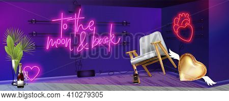 To The Moon Abd Back Pink Neon Sign. Night Moon Neon Sign. Neon Hearts Sign, Bright Signboard, Light