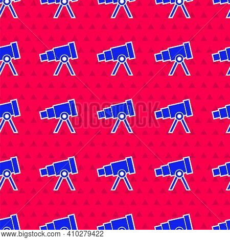 Blue Telescope Icon Isolated Seamless Pattern On Red Background. Scientific Tool. Education And Astr