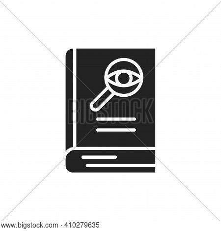 Detective Book Black Glyph Icon. Vector Illustration
