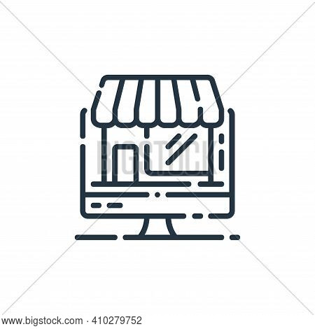 online store icon isolated on white background from startup collection. online store icon thin line