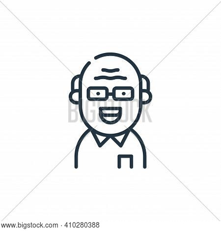 old man icon isolated on white background from dental care collection. old man icon thin line outlin