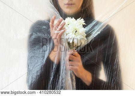 Defocused Female Portrait. Self Isolation. Social Anxiety. Psychology Problem. Fears Phobias. Hopefu