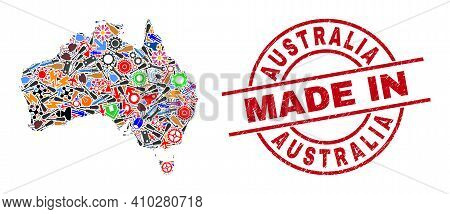 Technical Mosaic Australia Map And Made In Distress Stamp Seal. Australia Map Collage Composed With