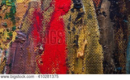 Hand drawn with oil paint abstract background. Red, yellow, brown colors