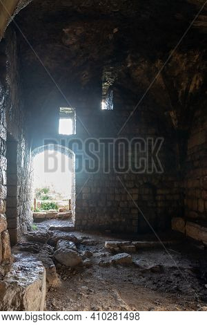 Qiryat Shemona, Israel, February 20, 2021 : The Inner Hall Of The Ruins Of Crusader Fortress Chateau