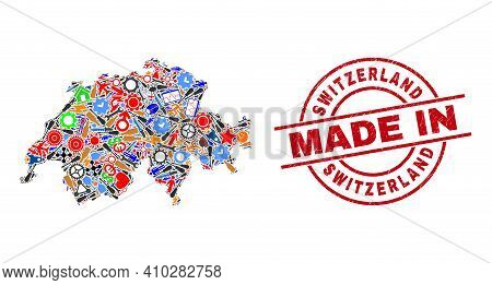 Service Switzerland Map Mosaic And Made In Distress Rubber Stamp. Switzerland Map Abstraction Compos