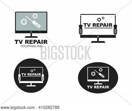 Tv Repair Icon Logo Vector Illustration