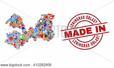 Production Leningrad Region Map Mosaic And Made In Distress Rubber Stamp. Leningrad Region Map Compo