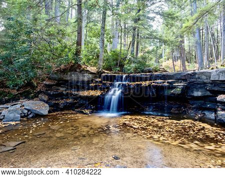 Swallow Falls State Park In The Fall In The Mountains Of Maryland With The Creek And Waterfalls Flow