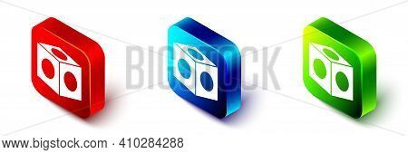 Isometric Billiard Chalk Icon Isolated On White Background. Chalk Block For Billiard Cue. Red, Blue