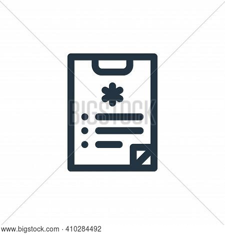 medical report icon isolated on white background from health collection. medical report icon thin li
