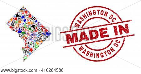 Technical Washington District Columbia Map Mosaic And Made In Scratched Stamp. Washington District C