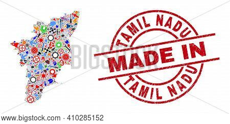 Education Tamil Nadu State Map Mosaic And Made In Scratched Stamp Seal. Tamil Nadu State Map Abstrac