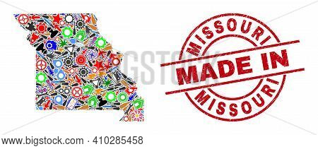 Production Mosaic Missouri State Map And Made In Distress Stamp. Missouri State Map Collage Created