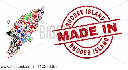 Education Rhodes Island Map Mosaic And Made In Distress Seal. Rhodes Island Map Abstraction Formed F