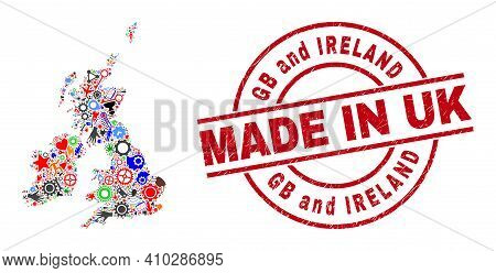 Technical Great Britain And Ireland Map Mosaic And Made In Distress Stamp Seal. Great Britain And Ir