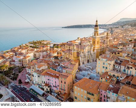 Menton France Colorful City View On Old Part Of Menton, Provence-alpes-cote Dazur, France. High Qual