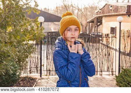 Girl In A Blue Jacket Winter. Girl In A Blue Jacket For A Walk.