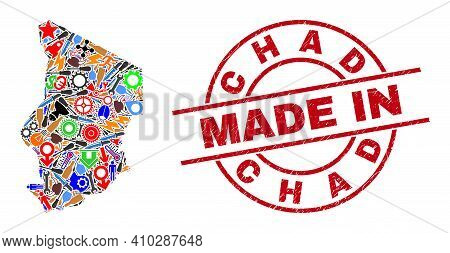 Service Chad Map Mosaic And Made In Grunge Rubber Stamp. Chad Map Mosaic Composed With Spanners, Gea
