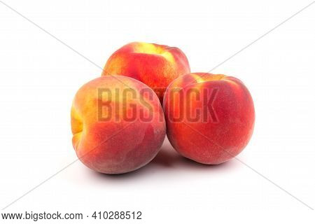 Summer Peach Fruit Background. Ripe Juicy Peaches On White Background. Copy Space.