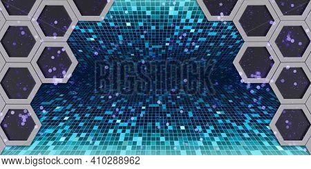 Hexagon Nest Hexagon Frame Glitter Bokeh Effect Geometric Abstract Bokeh Hexagonal Steel Material Te
