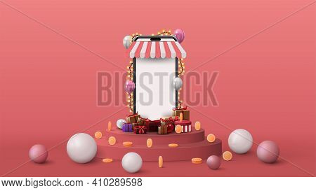 Template With Volumetric Smartphone With Blank Screen, Presents, Coins And 3D Spheres On Pink Podium