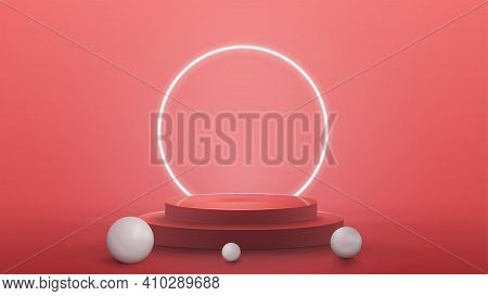 Empty Podium With Realistic Spheres And Neon Ring On Background, Realistic Vector Illustration. 3D R