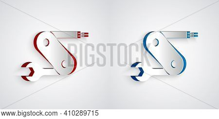 Paper Cut Swiss Army Knife Icon Isolated On Grey Background. Multi-tool, Multipurpose Penknife. Mult