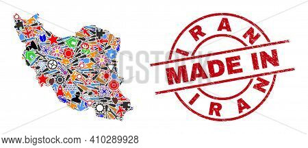 Engineering Iran Map Mosaic And Made In Distress Watermark. Iran Map Mosaic Formed With Wrenches, Ge