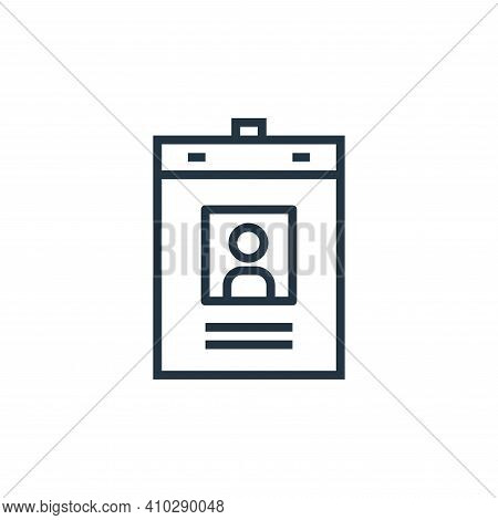id card icon isolated on white background from hospital collection. id card icon thin line outline l