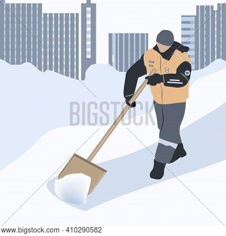 Worker Shovels Snow, Winter Cityscape, Snowdrifts, High-rise Buildings - Vector.