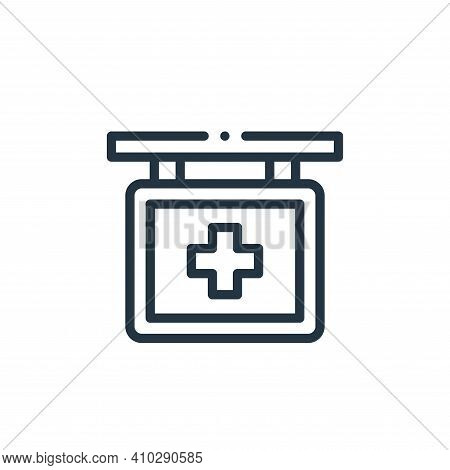 hospital sign icon isolated on white background from medicine collection. hospital sign icon thin li